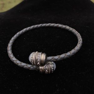 Vintage moonstone leather cable bracelet
